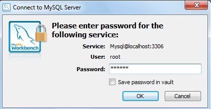 Janela para logar no MySQL Server Administration