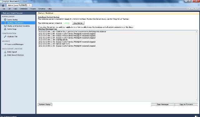Serviço iniciado do MySQL