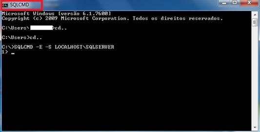 Janela do Prompt de Comandos no SQLCMD