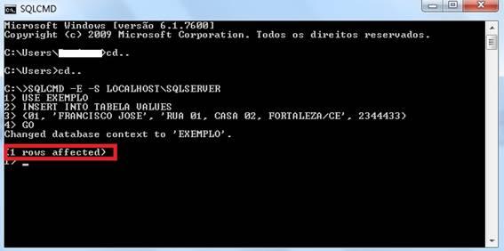 Janela do SQLCMD, inserindo dados