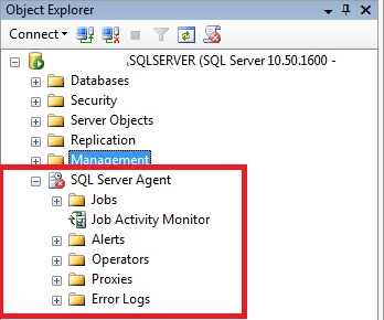 Janela Management Studio, OBJECT EXPLORER, mostrando o SQL Server Agent