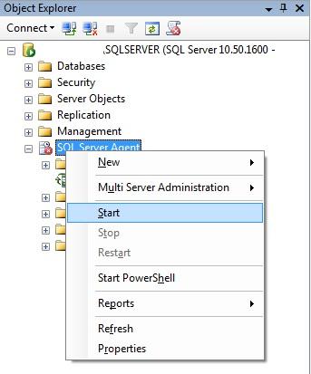Iniciando o SQL Server Agent