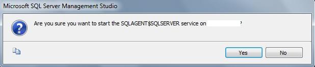 Janela de confirmação para iniciar o serviço do SQL Server Agent