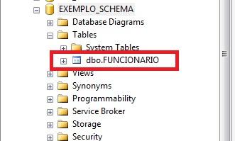 Object Explorer mostrando a tabela criada no Schema dbo