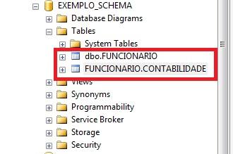 Object Explorer mostrando as duas tabelas criadas uma no Schemadbo