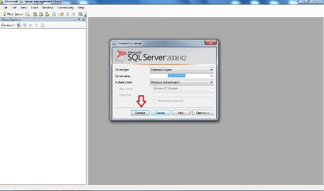 Janela inicial do SQL Server Management Studio