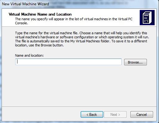 Definição de nome e localização da maquina virtual