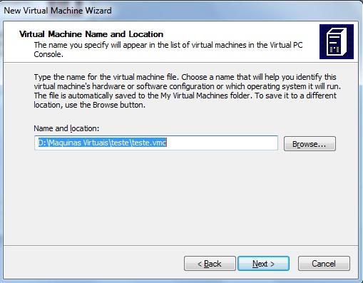 Nome e localização da maquina virtual definidos