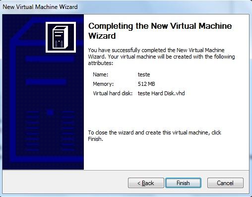 Finalizando a criação da máquina virtual