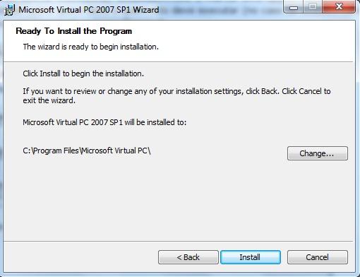Janela para iniciar o processo de instalação do Virtual PC