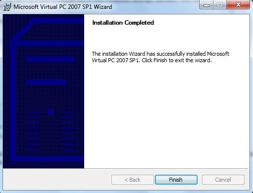 Janela de finalização da instalação do Virtual PC