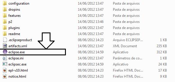Arquivo executável da IDE Eclipse