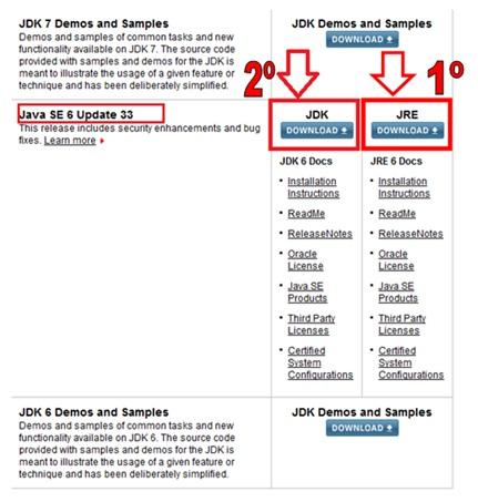 Página do download do JRE e JDK