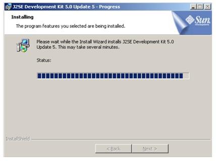 Progresso da instalação JDK