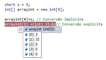 Conversão de valores em um array de inteiros