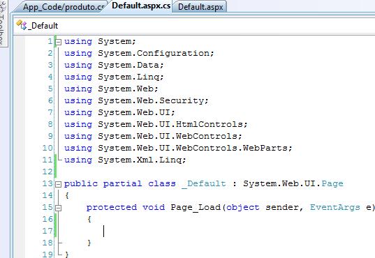 Exibição do arquivo Default.aspx.cs e seu source code padrão
