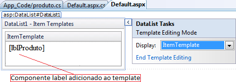 Componente label adicionado ao template do datalist