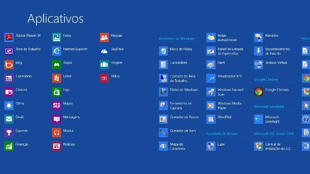 Painel contendo todos os aplicativos do Windows 8