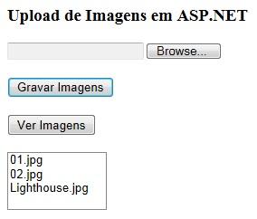 Nome das imagens sendo exibidas no ListBox