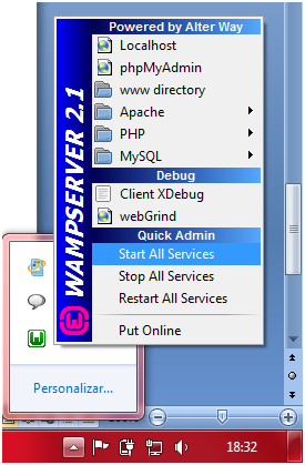 Clique em Start All Service