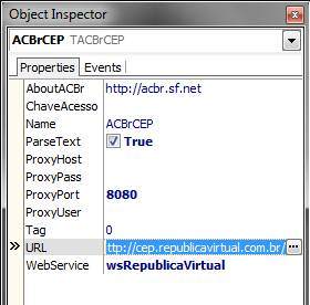Modifica��es nas propriedade do componente ACBrCEP
