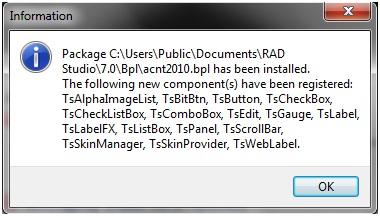Exibe a mensagem com a lista de componentes instalados e a confirmação da instalação