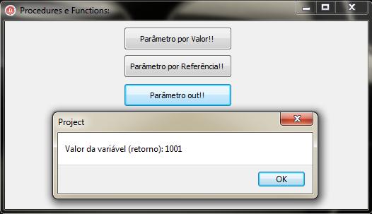 """Mensagem exibindo o valor da variável """"retorno"""" usando """"out"""""""