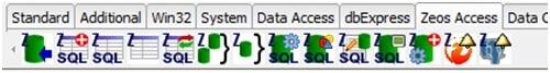 Exibe os componentes da paleta Zeos Access