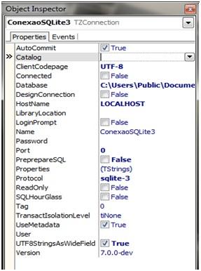 Configurações da conexão com SQLite 3