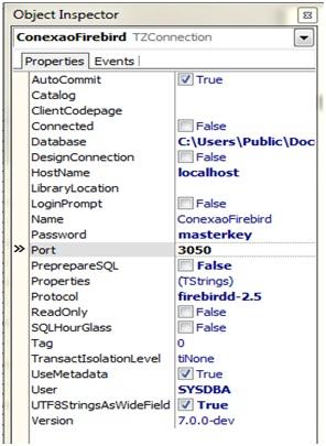 Configurações da conexão com Firebird 2.5.1