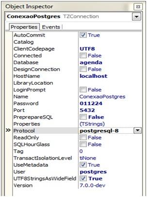 Configurações da conexão com PostgreSQL 9.1.4