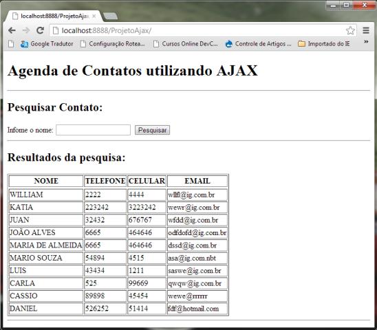 executando consultas ao mysql com php e ajax