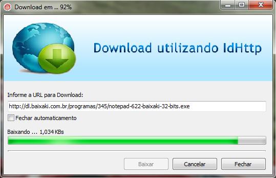 Aplicação efetuando download