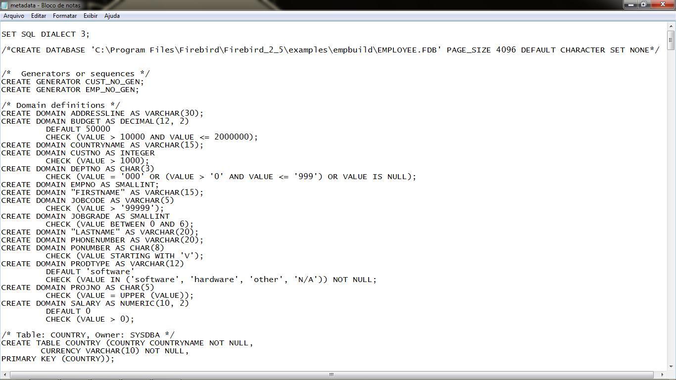 Exibe informações do arquivo txt criado após o comando de extração