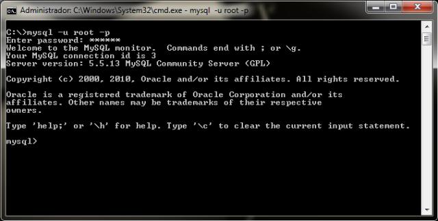 Imagem inicial de acesso ao MySQL via prompt