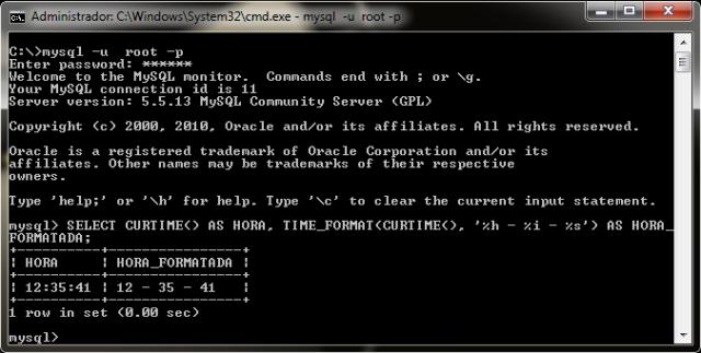 Hora atual do servidor e hora formatada
