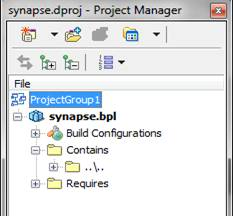 Mostra a janela Project Manager com o primeiro pacote aberto