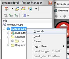 Mostra como compilar o pacote synapse.bpl