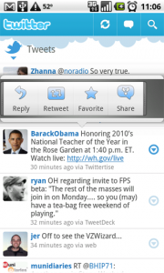 Shows the image of quick action pattern in twitter