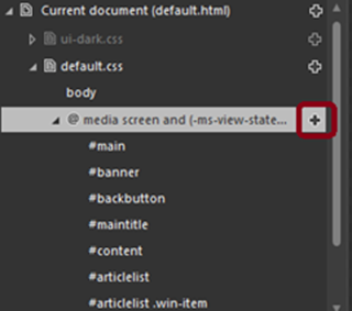 Shows the dialog box for adding the CSS rules